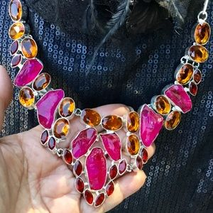Pink Titanium Drusy Golden Citrine Necklace Bib